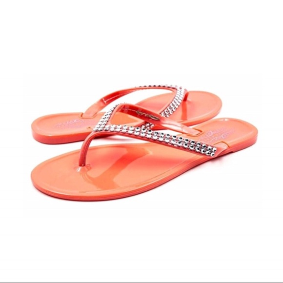 930c9d0358b6b Coral Flip Flops Faux Diamond Sandals New Size 7